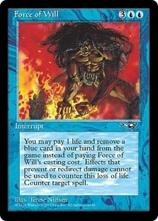 Magic the Gathering Alliances Single Force of Will MODERATE PLAY (VG/EX)