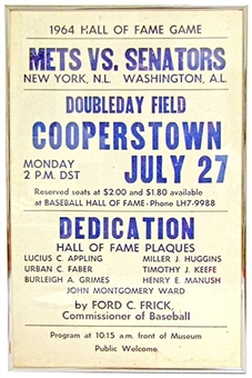 1964 Cooperstown Baseball Hall of Fame Induction Framed Poster (Senators vs. Mets)