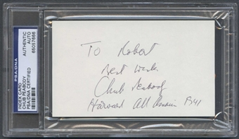 Endicott (Chub) Peabody Autograph (Index Card) PSA/DNA Certified *7666