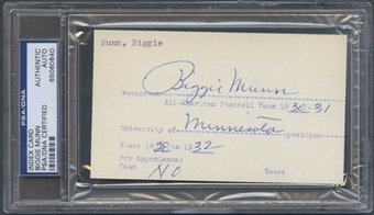 Clarence (Biggie) Munn Autograph (Index Card) PSA/DNA Certified *0840