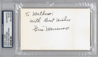 Gus Mancuso Autographed Index Card (PSA) *6058