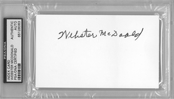 Webster McDonald Autographed Index Card (PSA) *6063