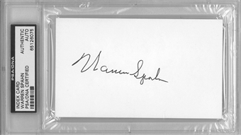 Warren Spahn Autographed Index Card (PSA)