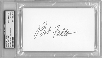 Bob Feller Autographed Index Card (PSA) *6082