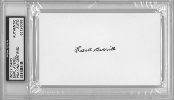 Earl Averill Autographed Index Card (PSA) *6085