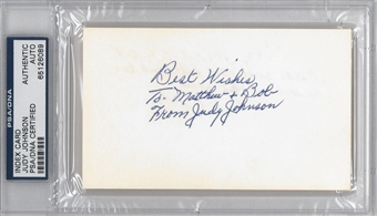 Judy Johnson Autographed Index Card (PSA) *6089