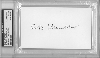 "AB ""Happy"" Chandler Autographed Index Card (PSA)"
