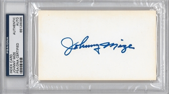 Johnny Mize Autographed Index Card (PSA) *6096