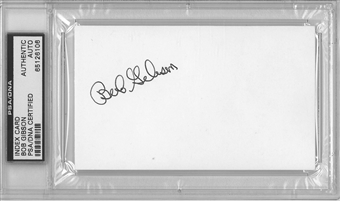 Bob Gibson Autographed Index Card (PSA) *6106