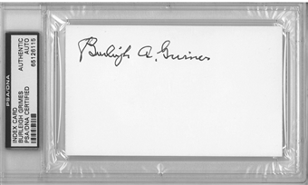 Burleigh Grimes Autographed Index Card (PSA) *6115