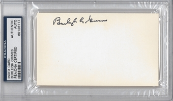 Burleigh Grimes Autographed Index Card (PSA) *6117