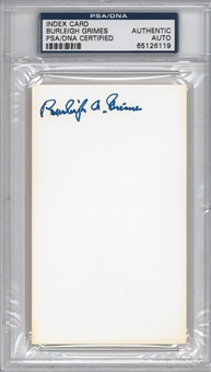 Burleigh Grimes Autographed Index Card (PSA) *6119
