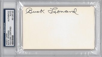 Buck Leonard Autographed Index Card (PSA) *6122