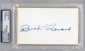 Buck Leonard Autographed Index Card (PSA) *6124