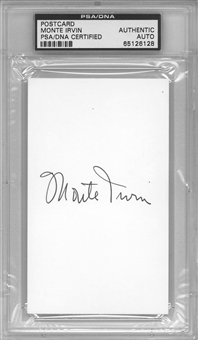 Monte Irvin Autographed Index Card (PSA) *6128