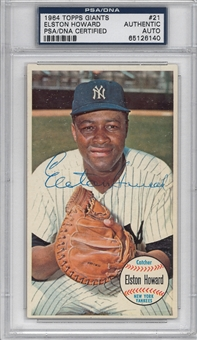 Elston Howard Autographed 1964 Topps Giant #21 (PSA)