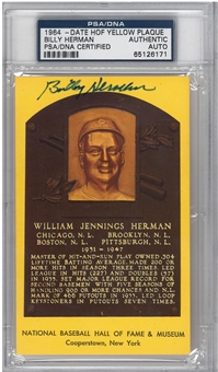Billy Herman Autographed HOF Plaque (PSA) *6171