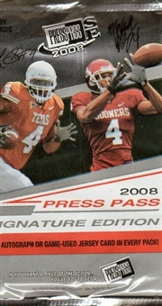 2008 Press Pass Signature Edition Football Hobby Pack