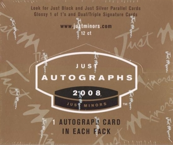 2008 Just Minors Just Autographs Baseball Hobby Box