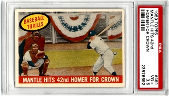 1959 Topps Baseball #461 Mantle Hits 42nd Homer for Crown PSA 3.5 (VG+) *6692*
