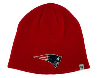 New England Patriots '47 Brand Red Cuffless Knit Beanie Winter Hat (Adult One Size)