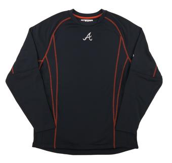 Atlanta Braves Majestic Navy Performance On Field Practice Fleece Pullover (Adult Small)