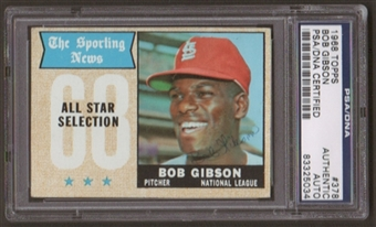 1968 Topps Bob Gibson #378 Autographed Card PSA Slabbed (5034)