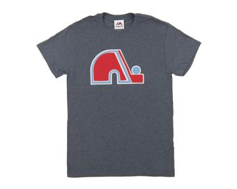 Quebec Nordiques Majestic Blue Vintage Lightweight Tek Patch Tee Shirt (Adult Small)