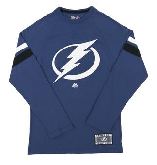 Tampa Bay Lightning Majestic Power Hit Blue Long Sleeve Tee Shirt (Adult Small)