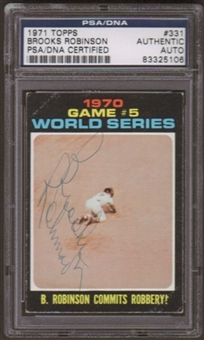 1971 Topps Brooks Robinson #331 Autographed Card PSA Slabbed (5106)