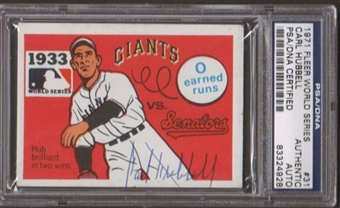 1971 Fleer World Series Carl Hubbell #31 Autographed Card PSA Slabbed (4928)