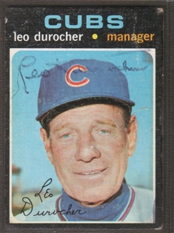 1971 Topps Baseball #609 Leo Durocher Signed in Person Auto