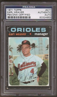 1971 Topps Earl Weaver #477 Autographed Card PSA Slabbed (4953)