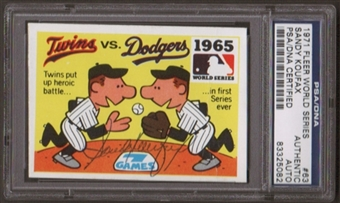 1971 Fleer World Series Sandy Koufax #63 Autographed Card PSA Slabbed (5082)