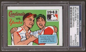 1971 Fleer World Series Stan Musial #40 Autographed Card PSA Slabbed (4972)