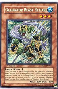 Yu-Gi-Oh Crossroads of Chaos Single Gladiator Beast Retiari Secret Rare