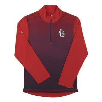 St. Louis Cardinals Majestic Red Good & Approved Cool Base 1/4 Zip Performance Long Sleeve Shirt (Adult XXL)