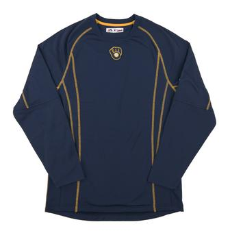 Milwaukee Brewers Majestic Navy Performance On Field Practice Fleece Pullover (Adult Small)