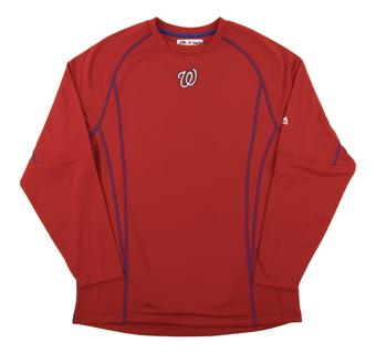 Washington Nationals Majestic Red Performance On Field Practice Fleece Pullover (Adult Large)