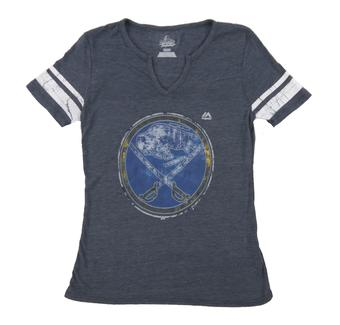 Buffalo Sabres Majestic Navy Tested Womans V-Neck Tri-Blend Tee Shirt (Womens Large)