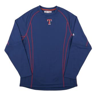 Texas Rangers Majestic Royal Performance On Field Practice Fleece Pullover (Adult X-Large)