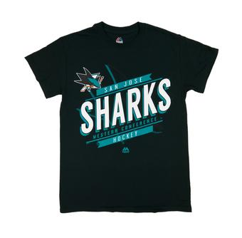 San Jose Sharks Majestic Earn Each Play Black Tee Shirt (Adult X-Large)