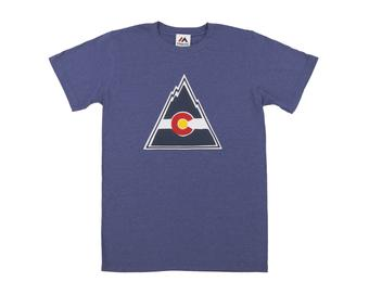 Colorado Rockies Majestic Blue Vintage Lightweight Tek Patch Tee Shirt (Adult Medium)