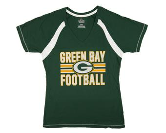 Green Bay Packers Majestic Green Day Game V-Neck Tee Shirt (Womens M)