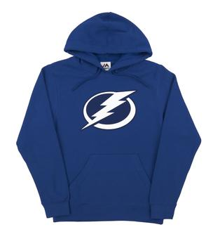 Tampa Bay Lightning Majestic Blue Felt Tek Patch Dual Blend Fleece Hoodie (Adult XX-Large)