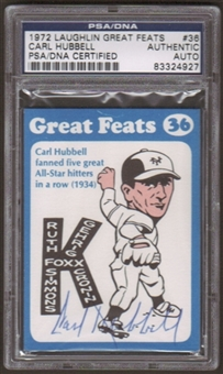 1972 Laughlin Carl Hubbell #36 Autographed Card PSA Slabbed (5110)