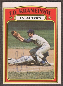 1972 Topps Baseball #182 Ed Kranepool In Action Signed in Person Auto