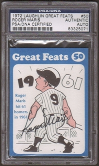 1972 Laughlin Roger Maris #50 Autographed Card PSA Slabbed (5071)