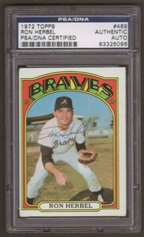 1972 Topps Ron Herbel #469 Autographed Card PSA Slabbed (5096)