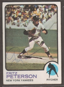 1973 Topps Baseball #82 Fritz Peterson Signed in Person Auto